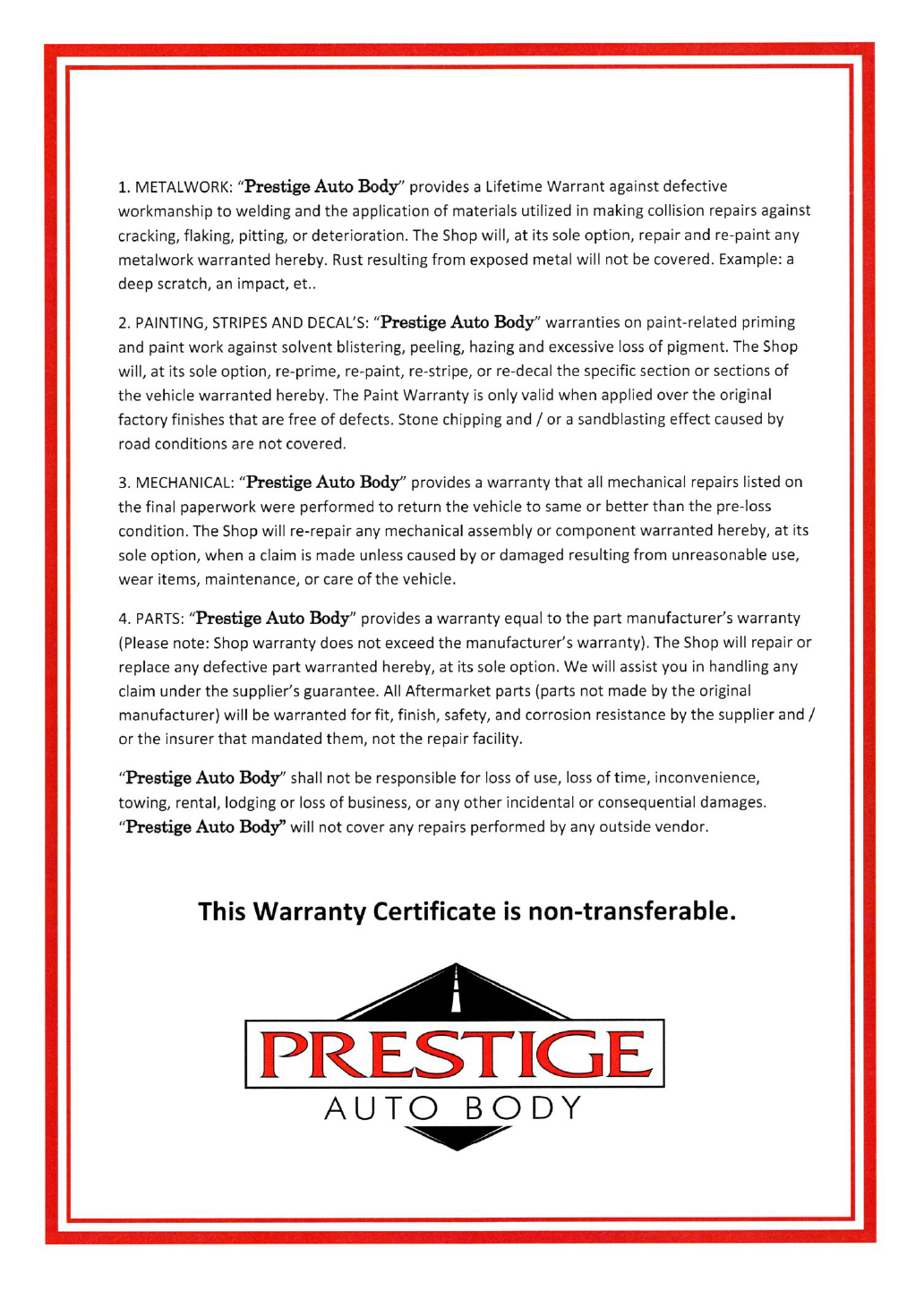 Print the Prestige Auto Body Warranty Information PDF