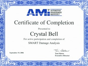 Crystal Bell - AMI Certification - Prestige Auto Body, Manchester, NH