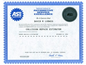 David Ludwig ASE Certification - Prestige Auto Body, Manchester, NH
